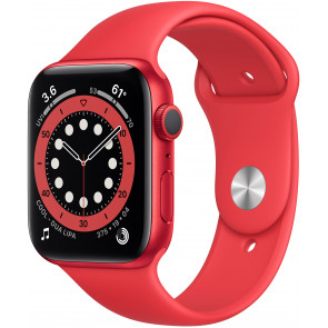 Apple Watch Series 6 GPS, 44mm Alu Rot, Sportarmband PRODUCT (Red)
