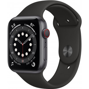 Apple Watch Series 6 GPS+Cell, 44mm Alu Spacegrau, Sportarmband Schwarz