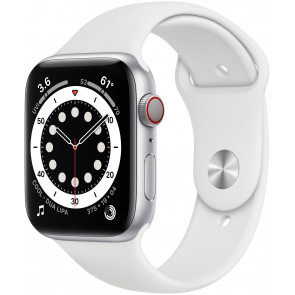Apple Watch Series 6 GPS+Cell, 40mm Alu Silber, Sportarmband Weiss