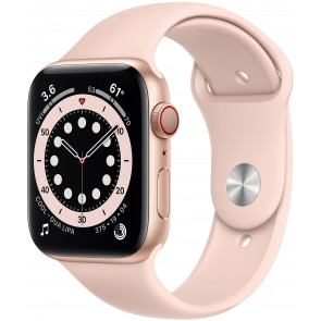 Apple Watch Series 6 GPS+Cell, 44mm Alu Gold, Sportarmband Sandrosa
