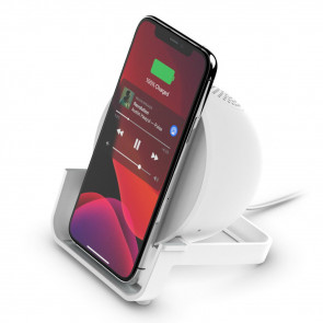 Belkin BoostCharge Wireless Charging Stand + Speaker, Weiss