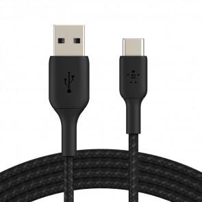 Belkin USB-C auf USB-A Kabel, ummantelt, 15cm, schwarz