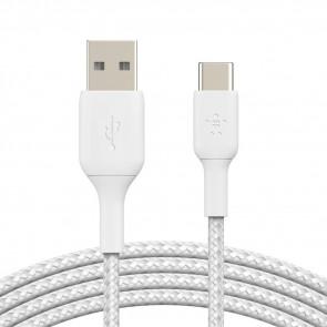 Belkin USB-C auf USB-A Kabel, ummantelt, 15cm, weiss