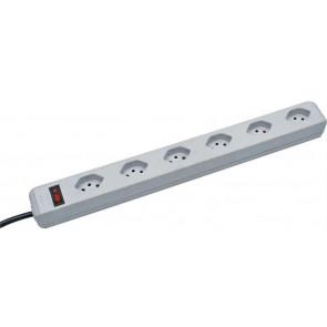 Brennenstuhl 6x T13 Steckdosenleiste vertikal mit Schalter, 3m, weiss